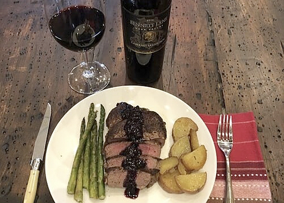 Bennett Lane Winery –Filet Mignon with Blueberry Reduction